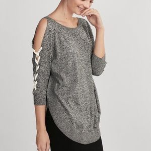 Express gray lace up cold shoulder sweater large